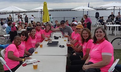 The Pink Crusaders enjoying a cold beer after a great weekend of racing at the 2014 GWN Challenge event at Marilyn Bell Park in Toronto.