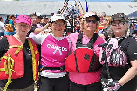 "Two members of the BCS ""Hope Floats"" team, plus our very own Estelle and Myra.  Taken at the cancer survivor ceremony at the St Catharines regatta, which happened to fall on the 20th anniversay of the first BCS team in Vancouver."