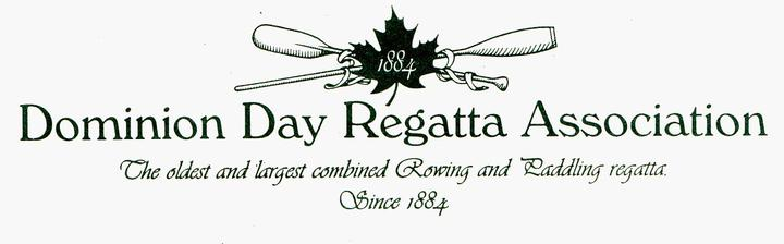 "Logo for the Dominion Day Regatta Association (DDRA) - It is a crossed oar and paddle with a maple leaf in the middle with the year 1884 on leaf.  The tag line is ""The oldest and largest combined Rowing and Paddling regatta, Since 1884""."