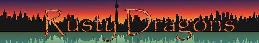 Rusty Dragons banner logo - Toronto skyline is black silhouette, with orange sky above and blue water below.