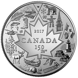 Canada 150 coin picture from Canadian Mint.  There will be random draws to give away 4 of these silver coins at the regatta
