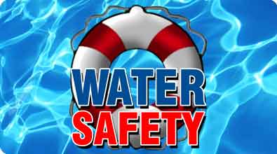 "Picture of water with red & white floating rescue ring, and the words ""Water Safety""."