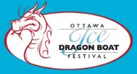 Official logo for Ottawa Ice Dragon Boat Festival - white oval with blue outside background, and dragon picture in red outlines.  This links to official website for organizers.