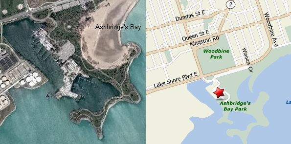 Satelite map of Ashbridges Bay area